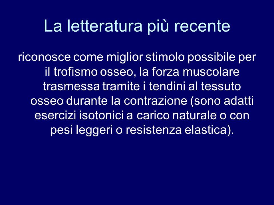 La letteratura più recente riconosce come miglior stimolo possibile per il trofismo osseo, la forza muscolare trasmessa tramite i tendini al tessuto o