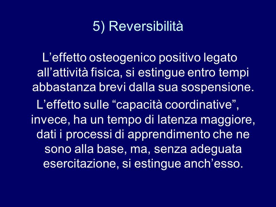 5) Reversibilità Leffetto osteogenico positivo legato allattività fisica, si estingue entro tempi abbastanza brevi dalla sua sospensione. Leffetto sul