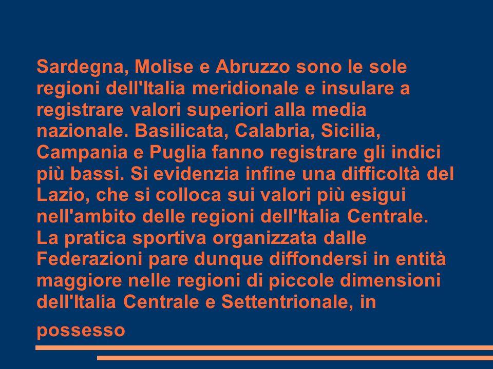 Sardegna, Molise e Abruzzo sono le sole regioni dell'Italia meridionale e insulare a registrare valori superiori alla media nazionale. Basilicata, Cal