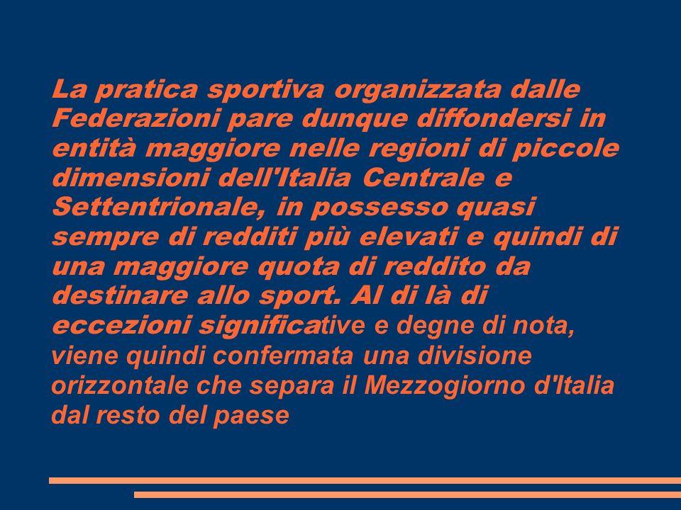 La pratica sportiva organizzata dalle Federazioni pare dunque diffondersi in entità maggiore nelle regioni di piccole dimensioni dell'Italia Centrale