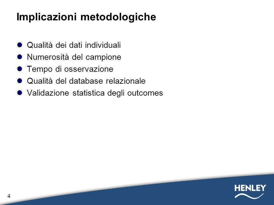 4 Implicazioni metodologiche Qualità dei dati individuali Numerosità del campione Tempo di osservazione Qualità del database relazionale Validazione s