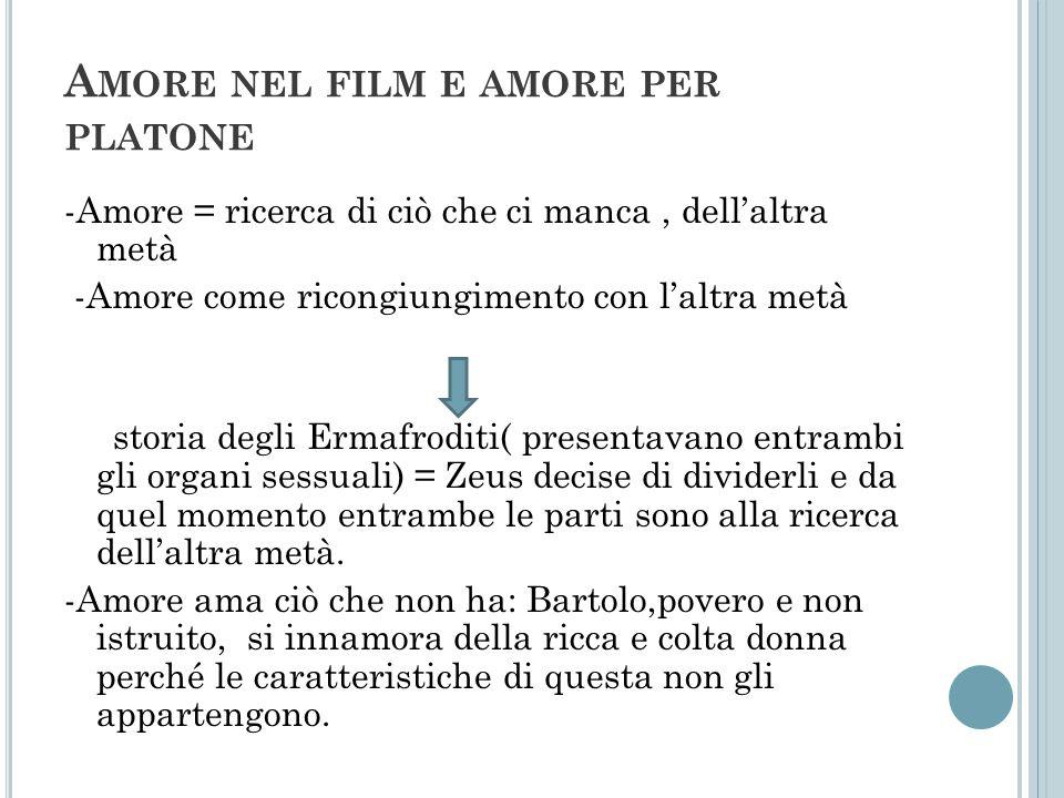 A MORE NEL FILM E AMORE PER PLATONE -Amore = ricerca di ciò che ci manca, dellaltra metà -Amore come ricongiungimento con laltra metà storia degli Erm