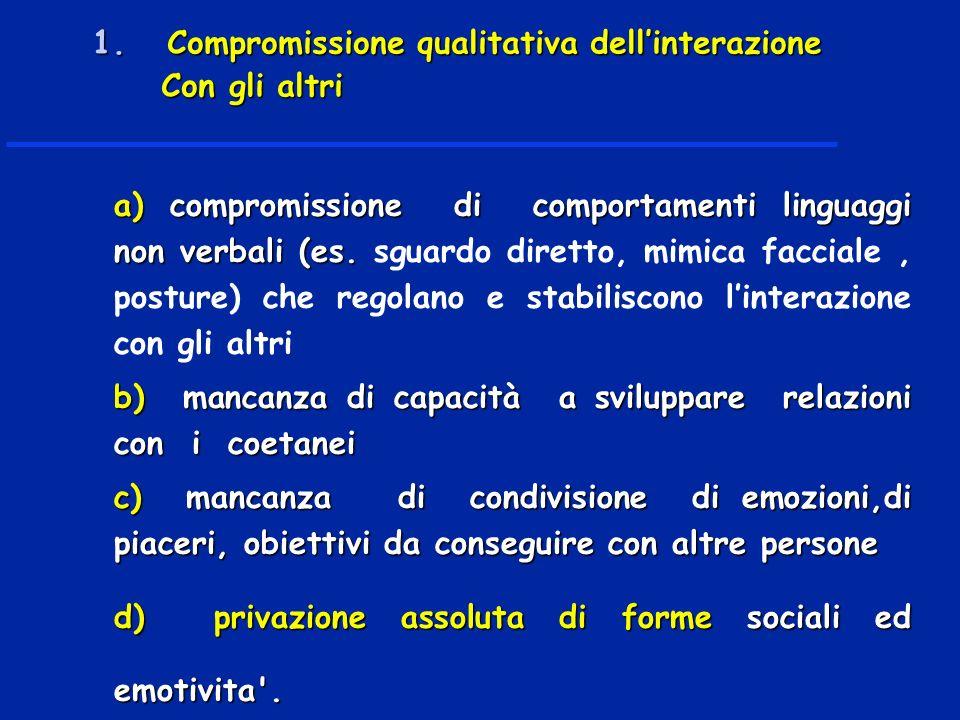 a) compromissione di comportamenti linguaggi non verbali (es. a) compromissione di comportamenti linguaggi non verbali (es. sguardo diretto, mimica fa