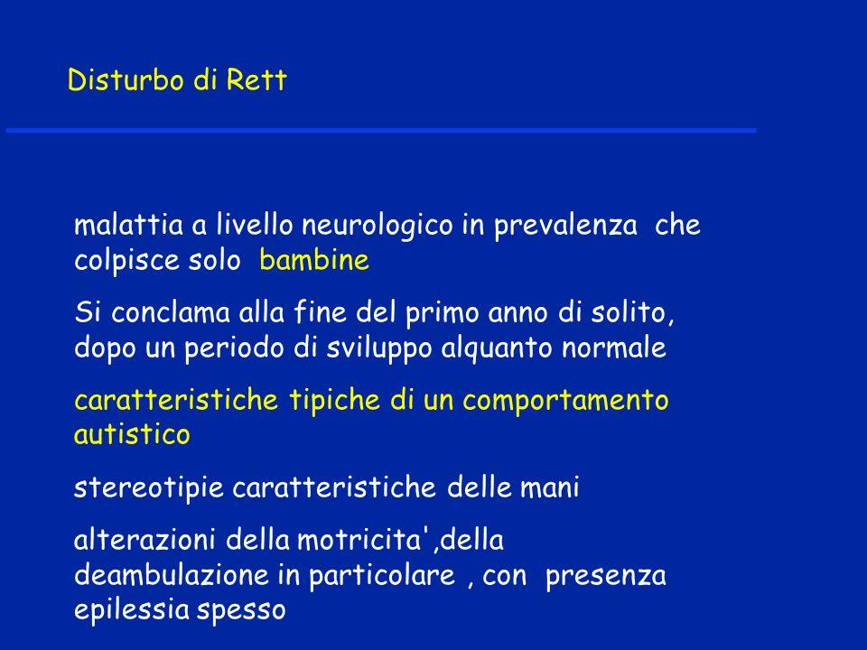 Disturbo di Rett malattia a livello neurologico in prevalenza che colpisce solo bambine Si conclama alla fine del primo anno di solito, dopo un period