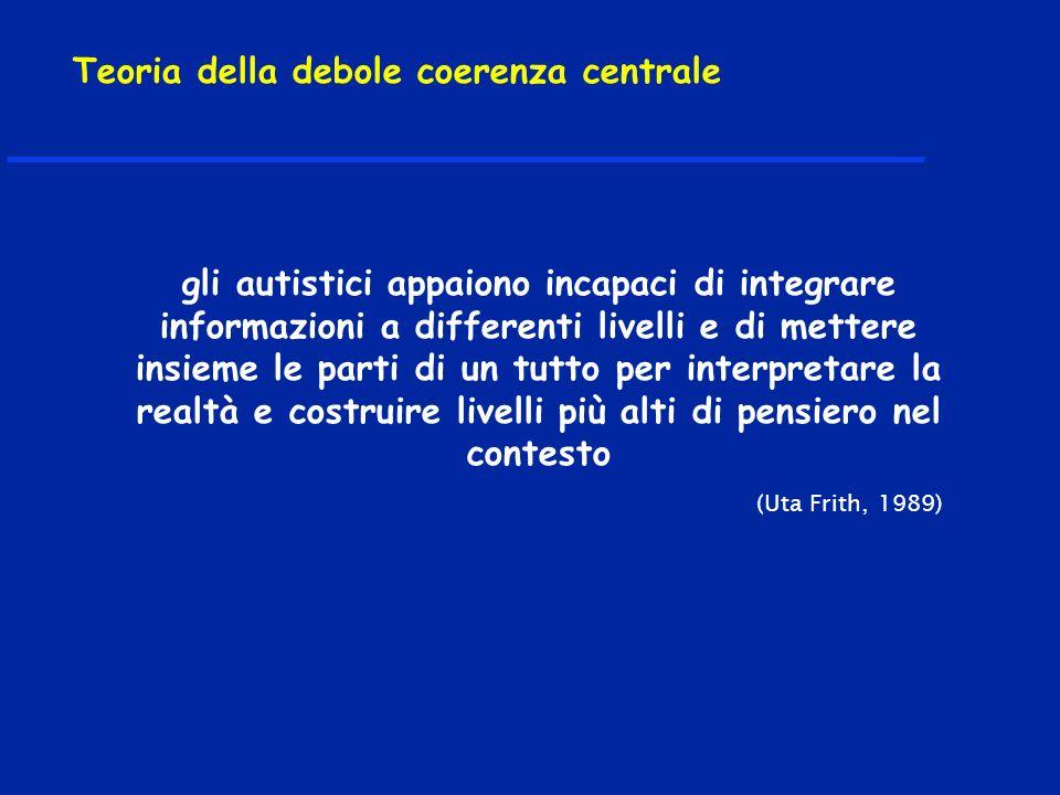 gli autistici appaiono incapaci di integrare informazioni a differenti livelli e di mettere insieme le parti di un tutto per interpretare la realtà e costruire livelli più alti di pensiero nel contesto (Uta Frith, 1989) Teoria della debole coerenza centrale