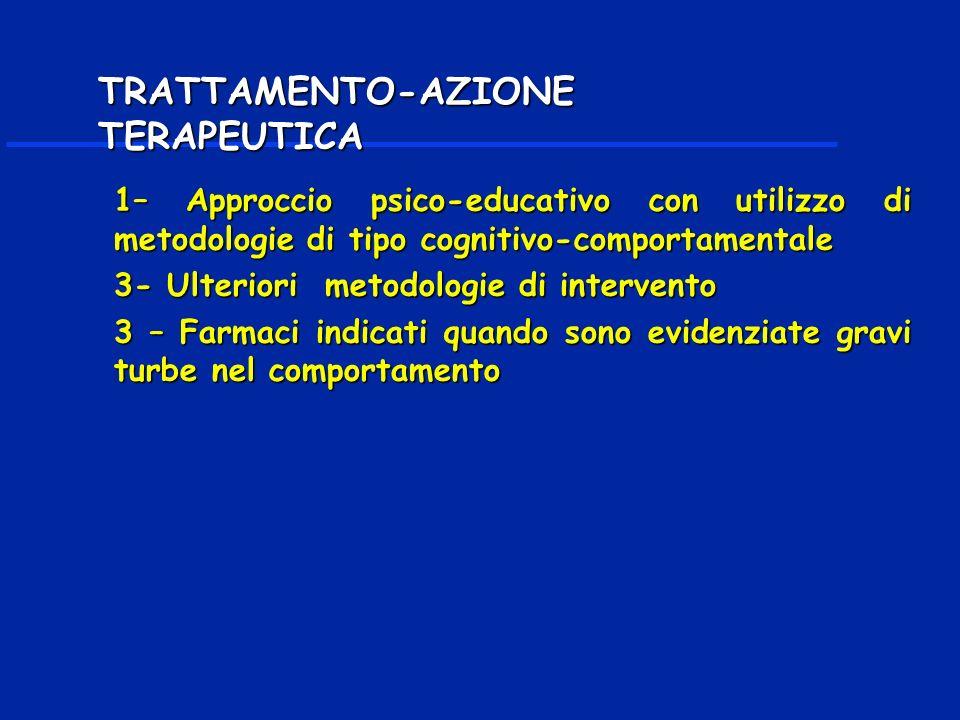 1– Approccio psico-educativo con utilizzo di metodologie di tipo cognitivo-comportamentale 3- Ulteriori metodologie di intervento 3 – Farmaci indicati quando sono evidenziate gravi turbe nel comportamento TRATTAMENTO-AZIONE TERAPEUTICA