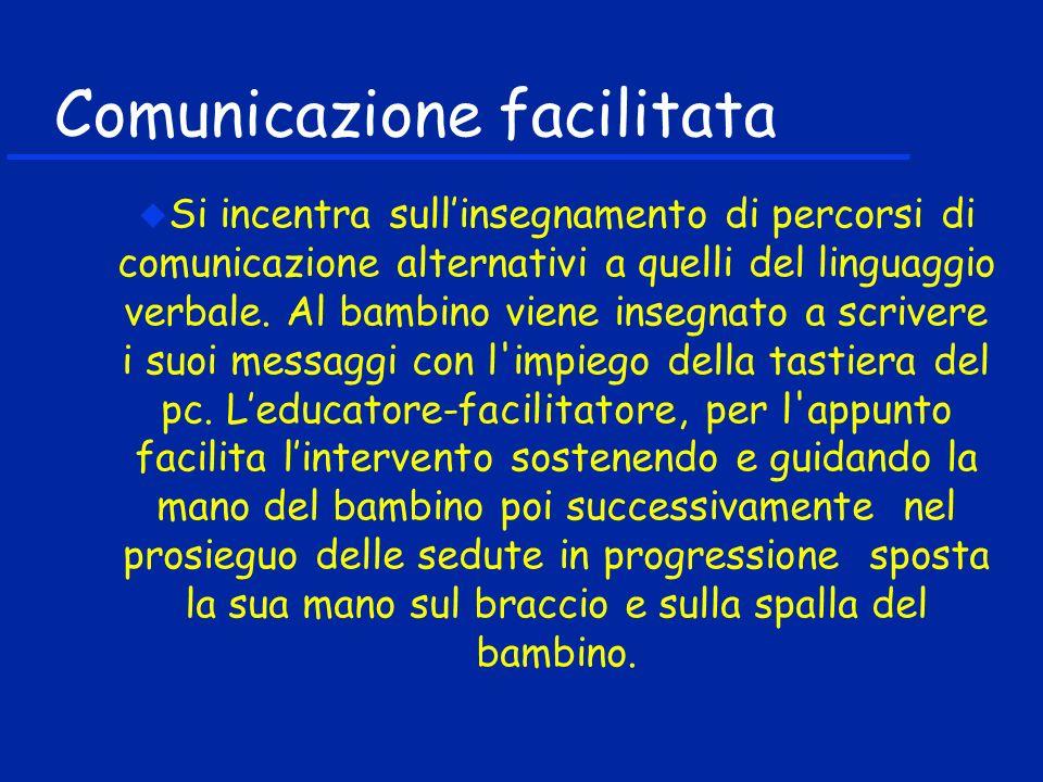 Comunicazione facilitata Si incentra sullinsegnamento di percorsi di comunicazione alternativi a quelli del linguaggio verbale. Al bambino viene inseg