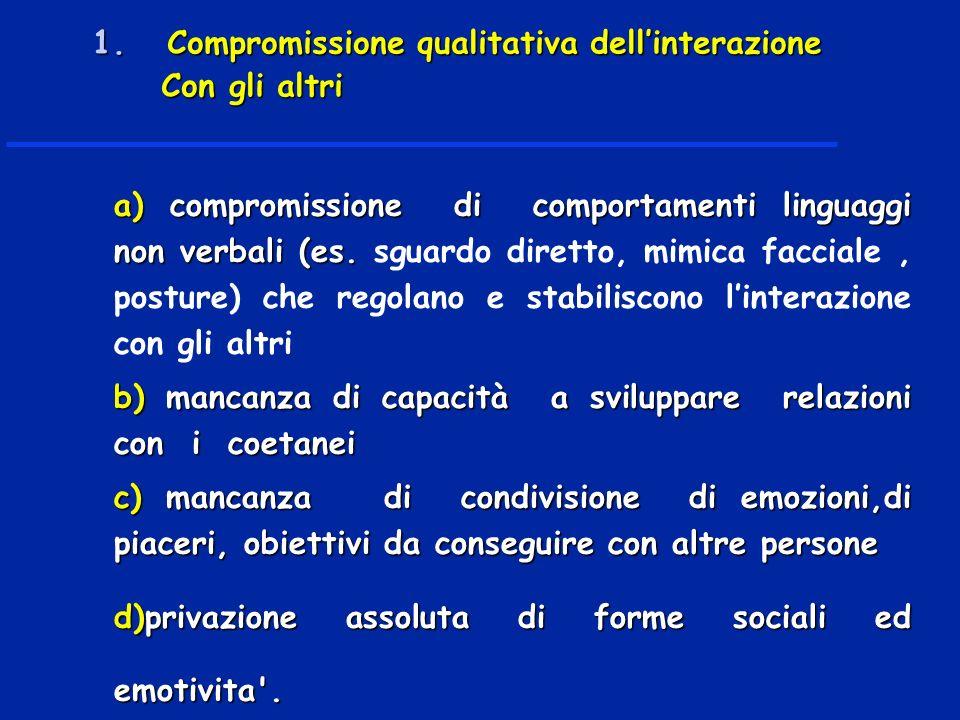a) compromissione di comportamenti linguaggi non verbali (es.