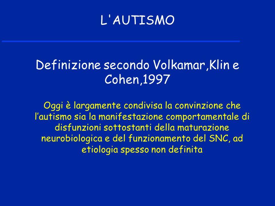 Oggi è largamente condivisa la convinzione che lautismo sia la manifestazione comportamentale di disfunzioni sottostanti della maturazione neurobiologica e del funzionamento del SNC, ad etiologia spesso non definita L AUTISMO Definizione secondo Volkamar,Klin e Cohen,1997