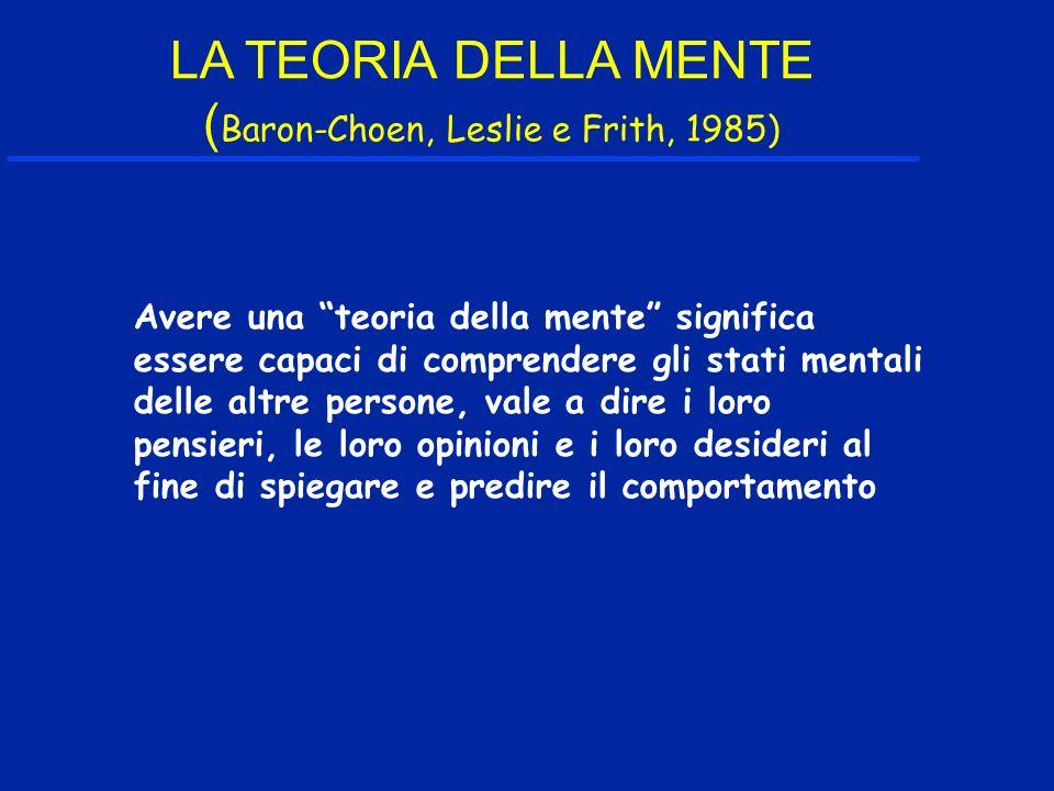 LA TEORIA DELLA MENTE ( Baron-Choen, Leslie e Frith, 1985) Avere una teoria della mente significa essere capaci di comprendere gli stati mentali delle altre persone, vale a dire i loro pensieri, le loro opinioni e i loro desideri al fine di spiegare e predire il comportamento