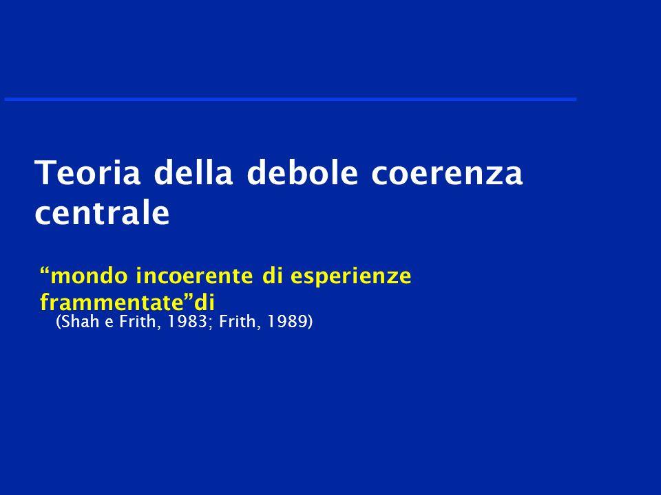mondo incoerente di esperienze frammentatedi (Shah e Frith, 1983; Frith, 1989) Teoria della debole coerenza centrale