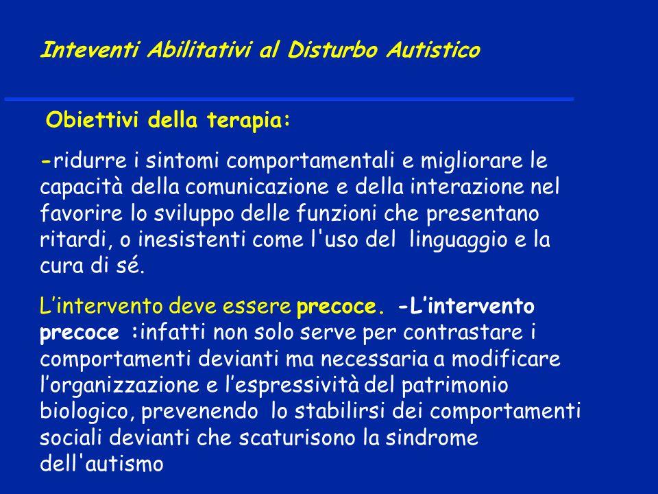 Obiettivi della terapia: -ridurre i sintomi comportamentali e migliorare le capacità della comunicazione e della interazione nel favorire lo sviluppo