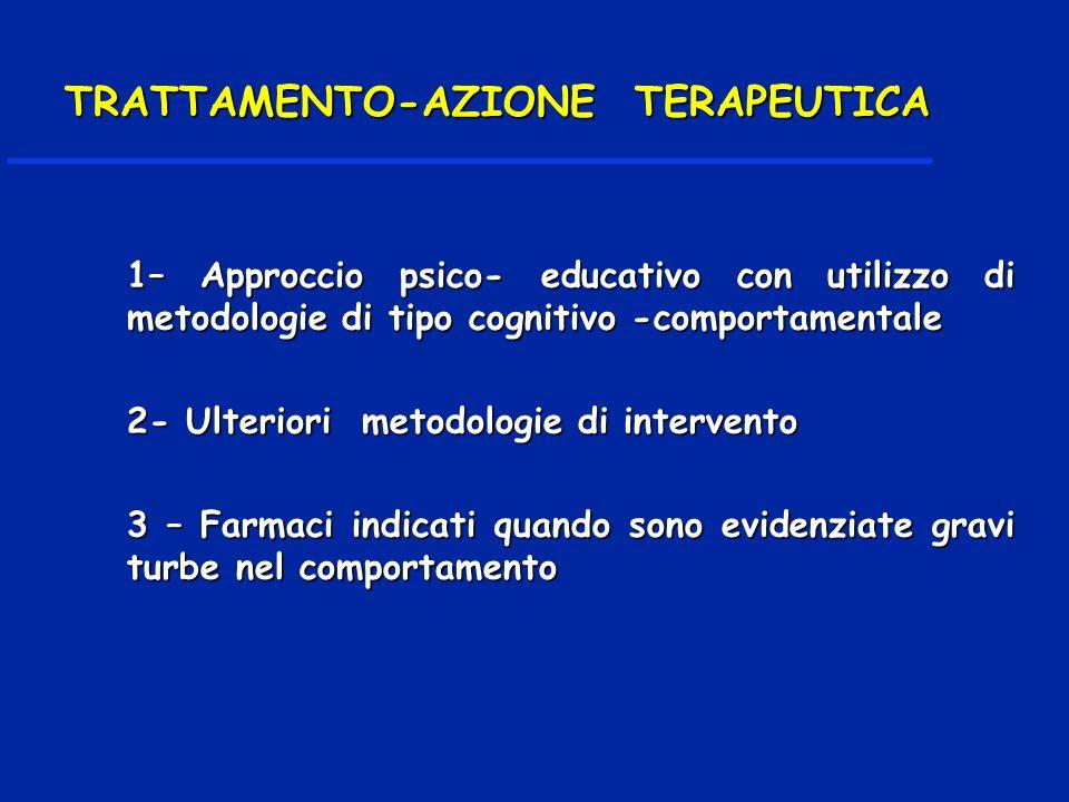 1– Approccio psico- educativo con utilizzo di metodologie di tipo cognitivo -comportamentale 2- Ulteriori metodologie di intervento 3 – Farmaci indicati quando sono evidenziate gravi turbe nel comportamento TRATTAMENTO-AZIONE TERAPEUTICA TRATTAMENTO-AZIONE TERAPEUTICA