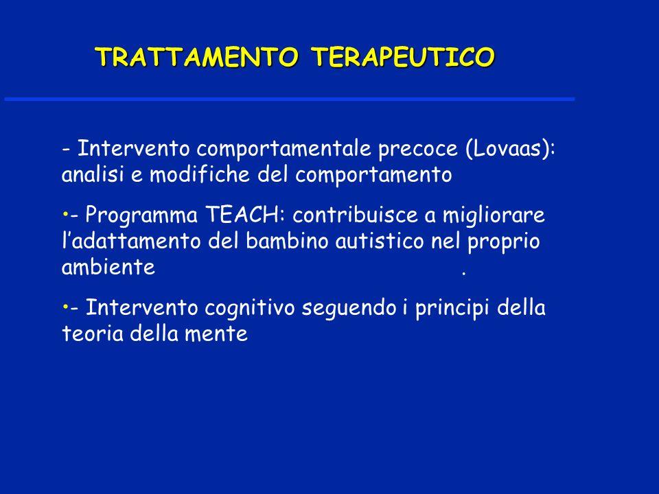 - Intervento comportamentale precoce (Lovaas): analisi e modifiche del comportamento - Programma TEACH: contribuisce a migliorare ladattamento del bambino autistico nel proprio ambiente.