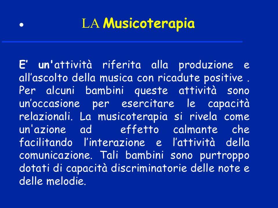 LA Musicoterapia E un'attività riferita alla produzione e allascolto della musica con ricadute positive. Per alcuni bambini queste attività sono unocc