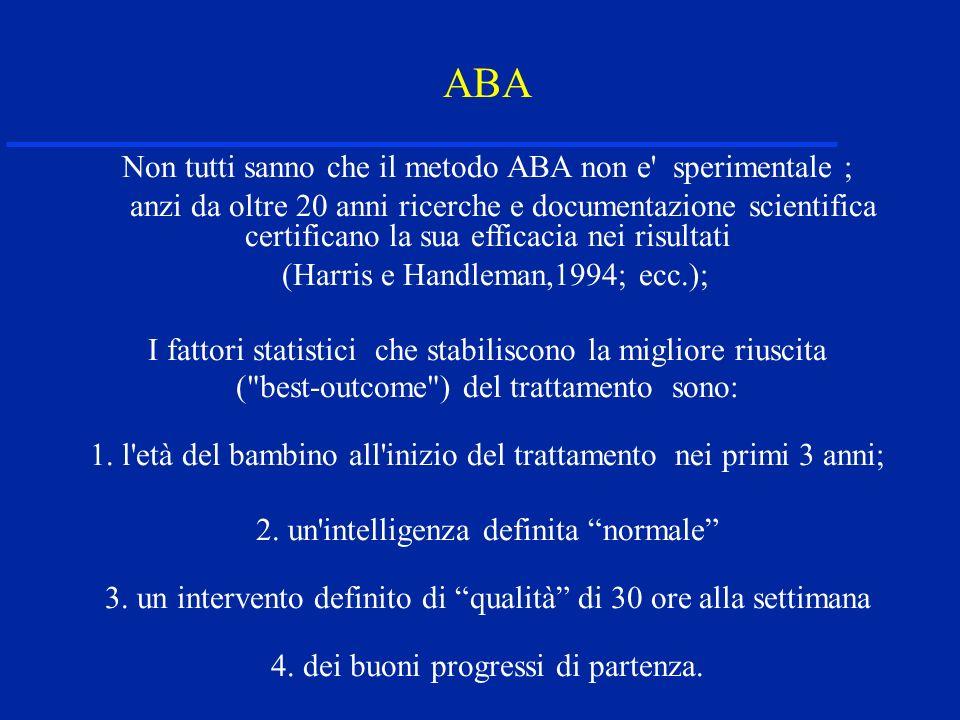 ABA Non tutti sanno che il metodo ABA non e sperimentale ; anzi da oltre 20 anni ricerche e documentazione scientifica certificano la sua efficacia nei risultati (Harris e Handleman,1994; ecc.); I fattori statistici che stabiliscono la migliore riuscita ( best-outcome ) del trattamento sono: 1.