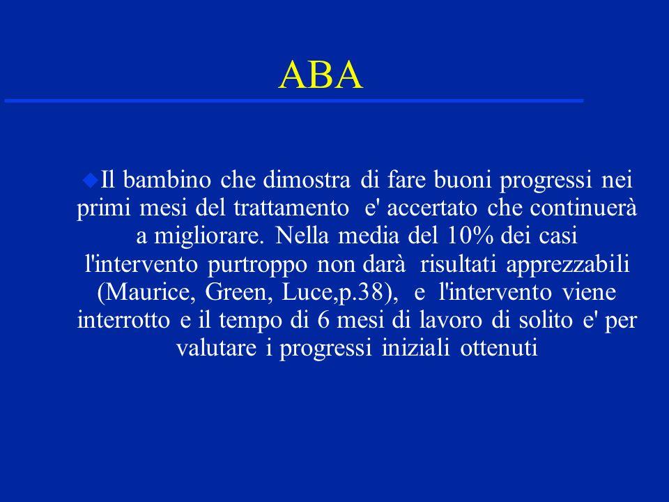 ABA Il bambino che dimostra di fare buoni progressi nei primi mesi del trattamento e' accertato che continuerà a migliorare. Nella media del 10% dei c