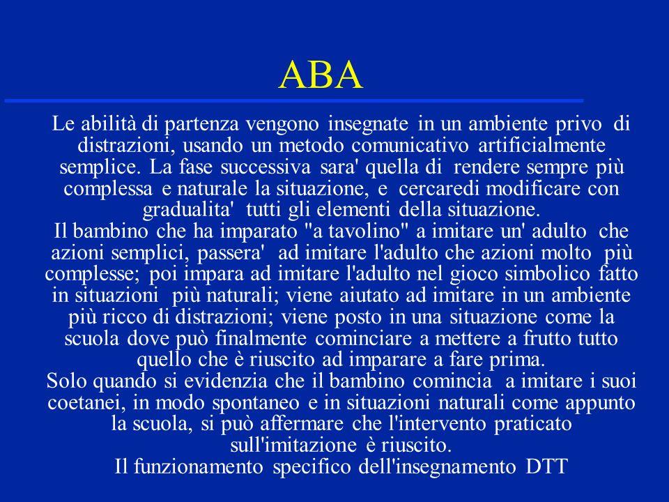 ABA Le abilità di partenza vengono insegnate in un ambiente privo di distrazioni, usando un metodo comunicativo artificialmente semplice. La fase succ