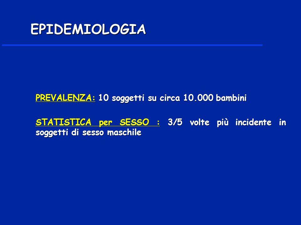 PREVALENZA: 10 soggetti su circa 10.000 bambini STATISTICA per SESSO : 3/5 volte più incidente in soggetti di sesso maschile EPIDEMIOLOGIA