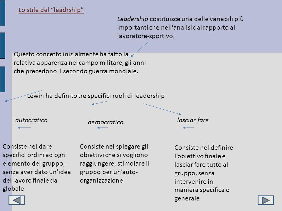 Lo stile del leadrship Leadership costituisce una delle variabili più importanti che nell'analisi dal rapporto al lavoratore-sportivo. Questo concetto