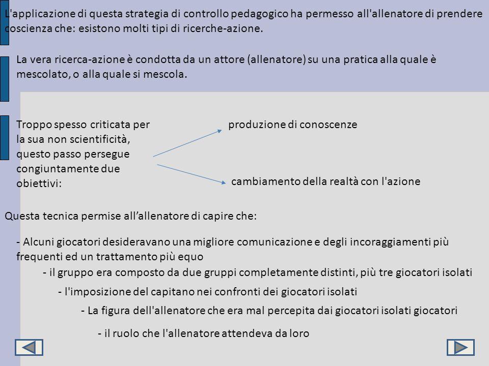 L'applicazione di questa strategia di controllo pedagogico ha permesso all'allenatore di prendere coscienza che: esistono molti tipi di ricerche-azion