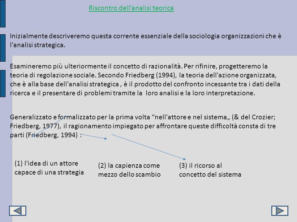 Riscontro dellanalisi teorica Inizialmente descriveremo questa corrente essenziale della sociologia organizzazioni che è l'analisi strategica. Esamine