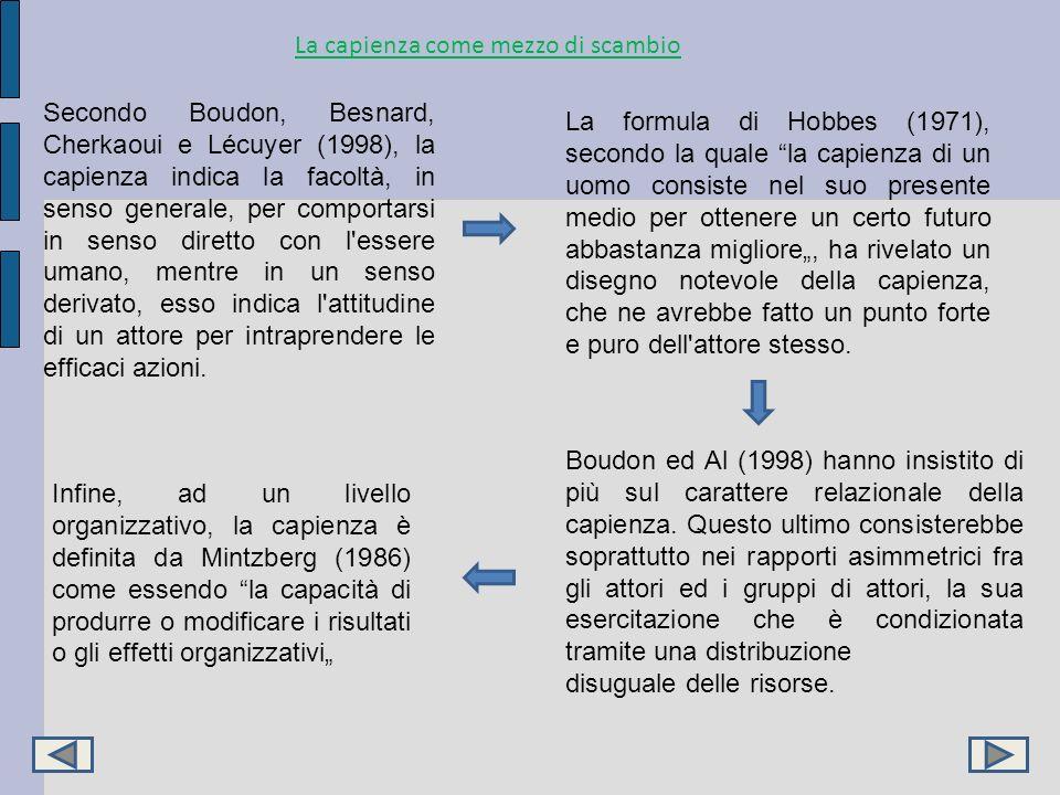 La capienza come mezzo di scambio Secondo Boudon, Besnard, Cherkaoui e Lécuyer (1998), la capienza indica la facoltà, in senso generale, per comportar