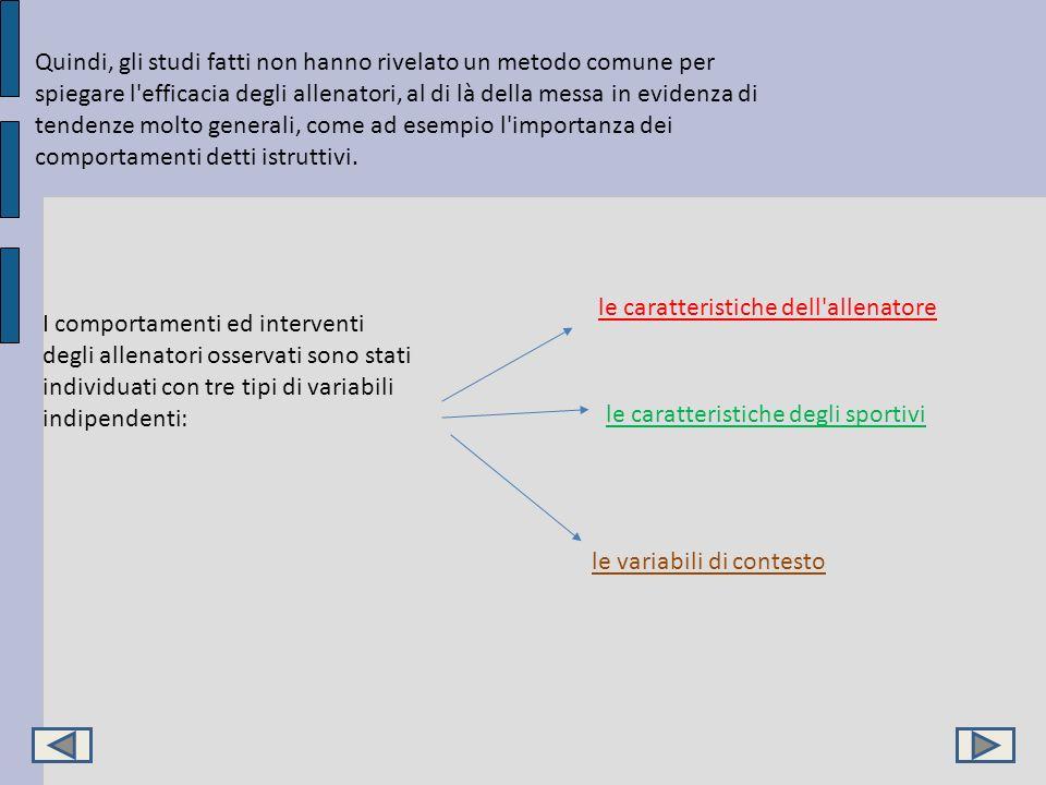 Quindi, gli studi fatti non hanno rivelato un metodo comune per spiegare l'efficacia degli allenatori, al di là della messa in evidenza di tendenze mo