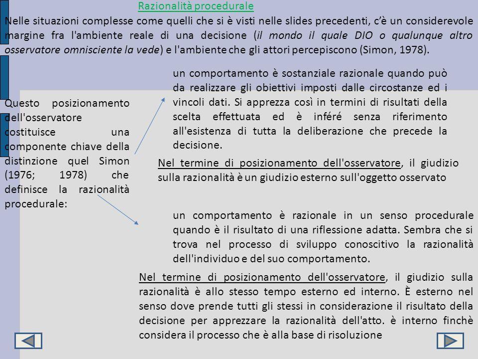 Razionalità procedurale Nelle situazioni complesse come quelli che si è visti nelle slides precedenti, cè un considerevole margine fra l'ambiente real
