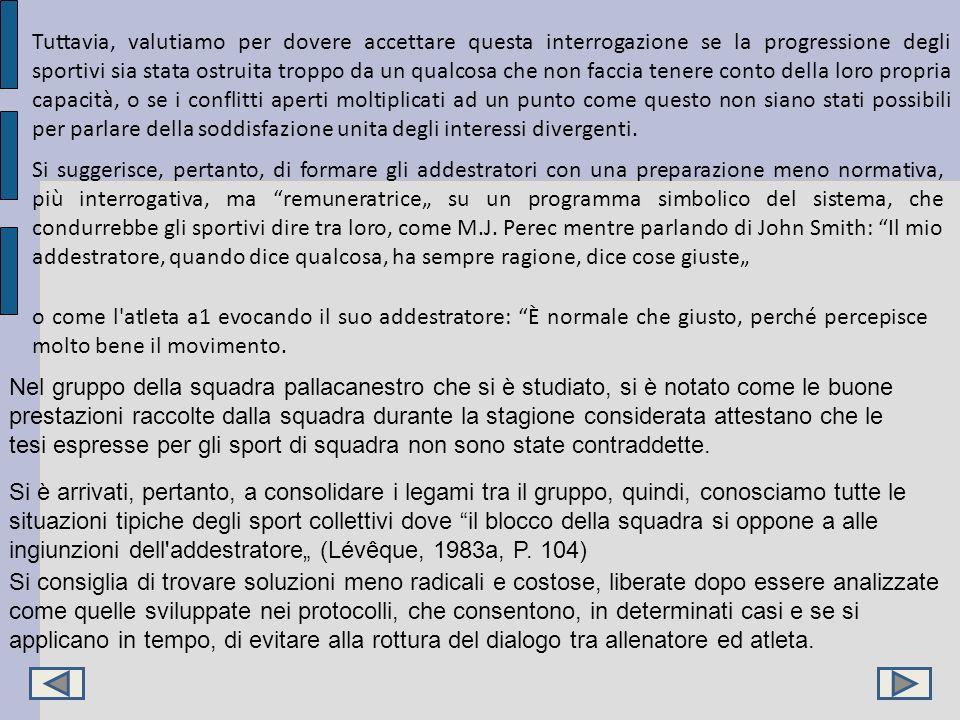 Tuttavia, valutiamo per dovere accettare questa interrogazione se la progressione degli sportivi sia stata ostruita troppo da un qualcosa che non facc