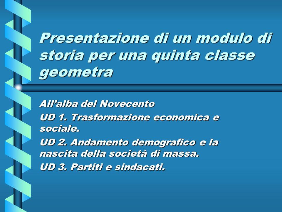 Presentazione di un modulo di storia per una quinta classe geometra Allalba del Novecento UD 1. Trasformazione economica e sociale. UD 2. Andamento de
