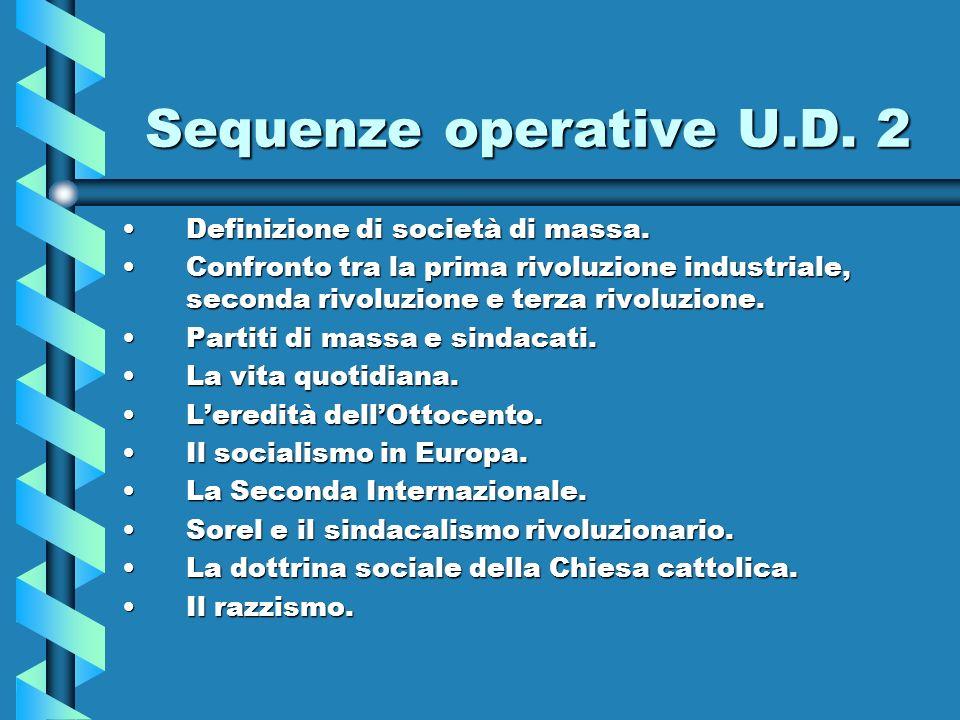 Sequenze operative U.D. 2 Definizione di società di massa.Definizione di società di massa. Confronto tra la prima rivoluzione industriale, seconda riv