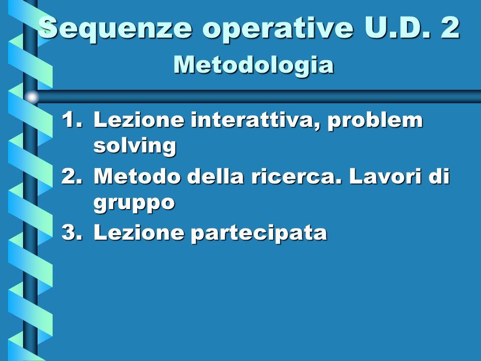 Sequenze operative U.D. 2 Metodologia 1.Lezione interattiva, problem solving 2.Metodo della ricerca. Lavori di gruppo 3.Lezione partecipata
