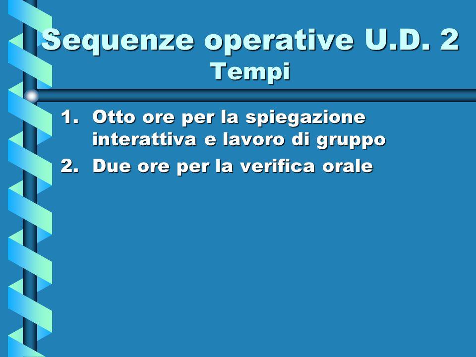 Sequenze operative U.D. 2 Tempi 1.Otto ore per la spiegazione interattiva e lavoro di gruppo 2.Due ore per la verifica orale