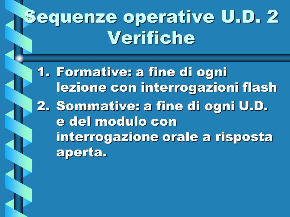 Sequenze operative U.D. 2 Verifiche 1.Formative: a fine di ogni lezione con interrogazioni flash 2.Sommative: a fine di ogni U.D. e del modulo con int