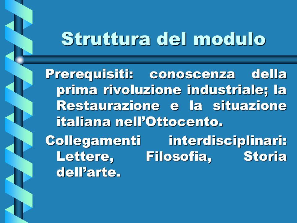 Struttura del modulo Prerequisiti: conoscenza della prima rivoluzione industriale; la Restaurazione e la situazione italiana nellOttocento. Collegamen