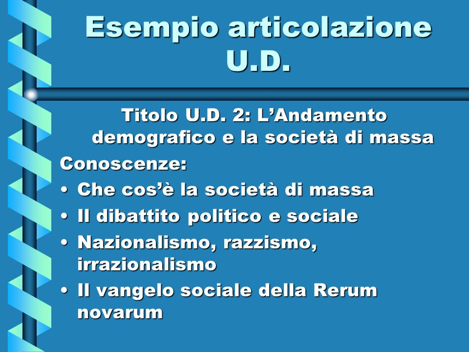 Esempio articolazione U.D. Titolo U.D. 2: LAndamento demografico e la società di massa Conoscenze: Che cosè la società di massaChe cosè la società di