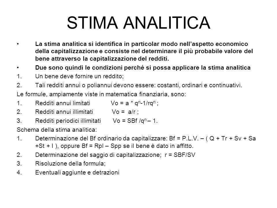 STIMA ANALITICA La stima analitica si identifica in particolar modo nellaspetto economico della capitalizzazione e consiste nel determinare il più pro