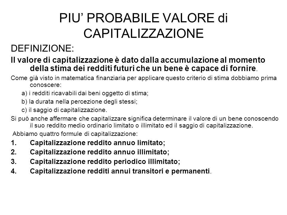 PIU PROBABILE VALORE di CAPITALIZZAZIONE DEFINIZIONE: Il valore di capitalizzazione è dato dalla accumulazione al momento della stima dei redditi futu