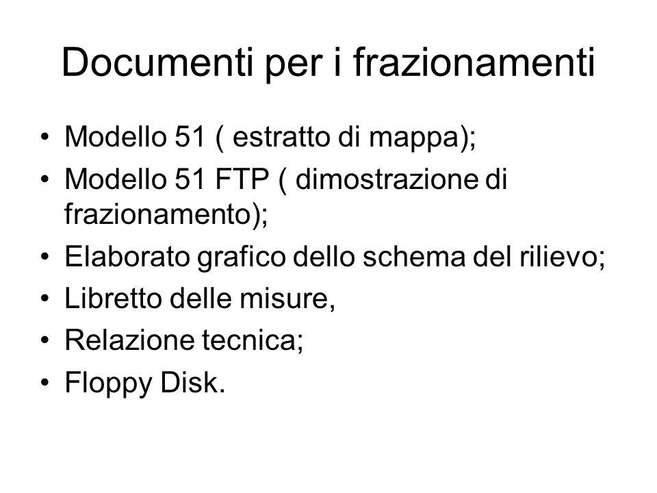 Documenti per i frazionamenti Modello 51 ( estratto di mappa); Modello 51 FTP ( dimostrazione di frazionamento); Elaborato grafico dello schema del ri