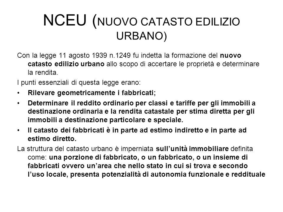 NCEU ( NUOVO CATASTO EDILIZIO URBANO) Con la legge 11 agosto 1939 n.1249 fu indetta la formazione del nuovo catasto edilizio urbano allo scopo di acce