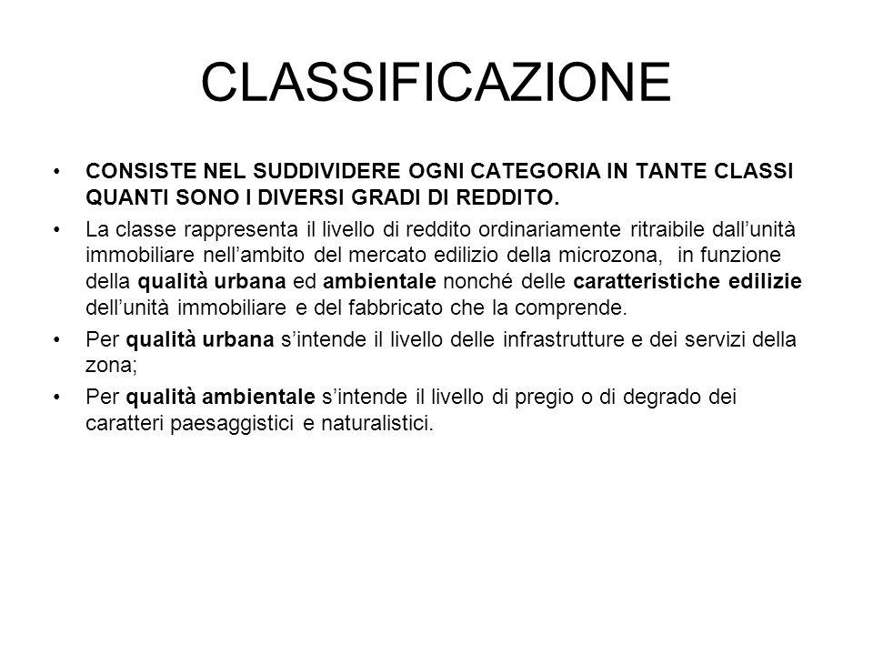 CLASSIFICAZIONE CONSISTE NEL SUDDIVIDERE OGNI CATEGORIA IN TANTE CLASSI QUANTI SONO I DIVERSI GRADI DI REDDITO. La classe rappresenta il livello di re