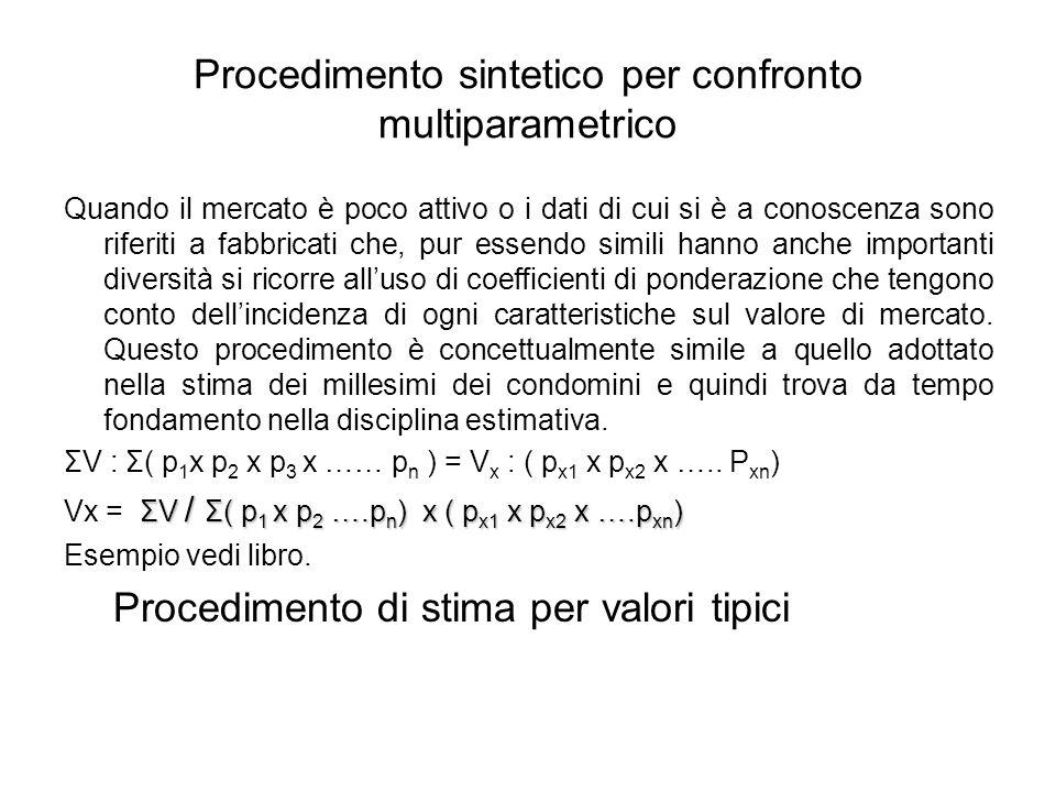 Procedimento sintetico per confronto multiparametrico Quando il mercato è poco attivo o i dati di cui si è a conoscenza sono riferiti a fabbricati che