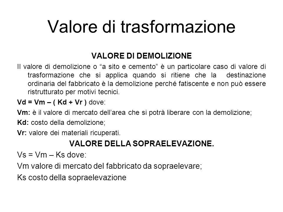 Valore di trasformazione VALORE DI DEMOLIZIONE Il valore di demolizione o a sito e cemento è un particolare caso di valore di trasformazione che si ap