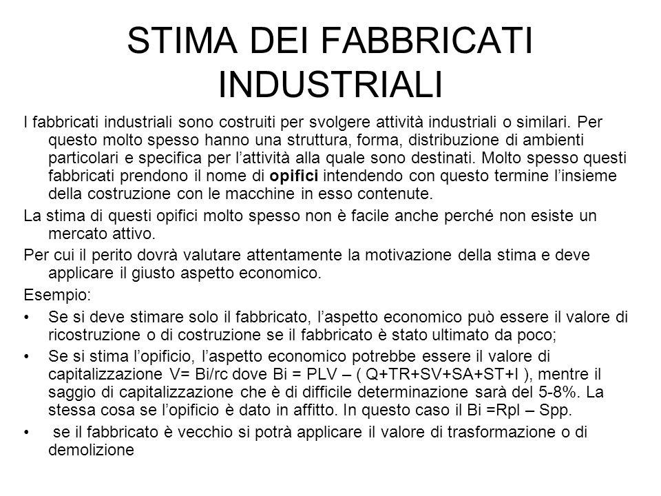 STIMA DEI FABBRICATI INDUSTRIALI I fabbricati industriali sono costruiti per svolgere attività industriali o similari. Per questo molto spesso hanno u