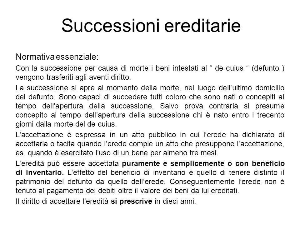 Successioni ereditarie Normativa essenziale: Con la successione per causa di morte i beni intestati al de cuius (defunto ) vengono trasferiti agli ave