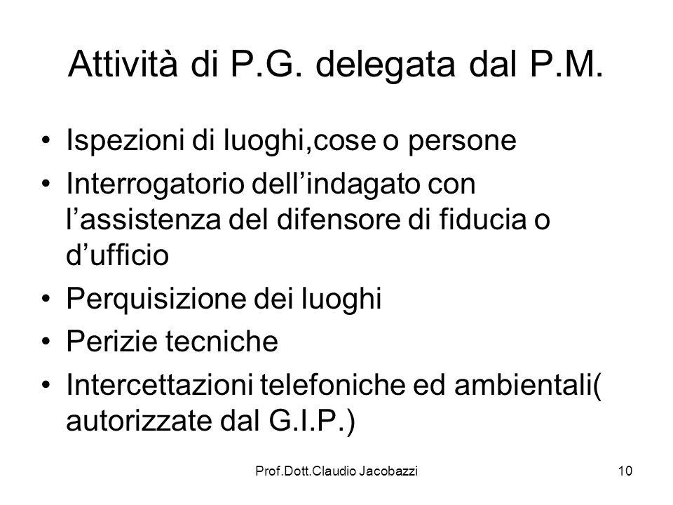 Prof.Dott.Claudio Jacobazzi10 Attività di P.G. delegata dal P.M. Ispezioni di luoghi,cose o persone Interrogatorio dellindagato con lassistenza del di