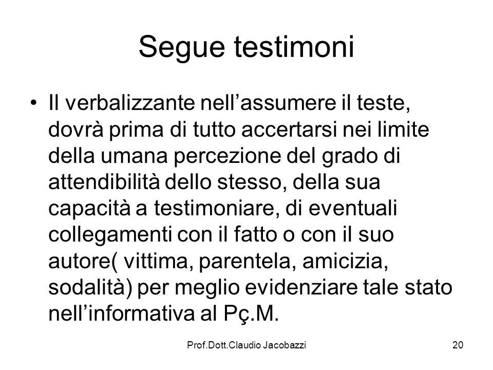 Prof.Dott.Claudio Jacobazzi20 Segue testimoni Il verbalizzante nellassumere il teste, dovrà prima di tutto accertarsi nei limite della umana percezion