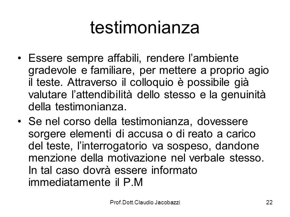 Prof.Dott.Claudio Jacobazzi22 testimonianza Essere sempre affabili, rendere lambiente gradevole e familiare, per mettere a proprio agio il teste. Attr