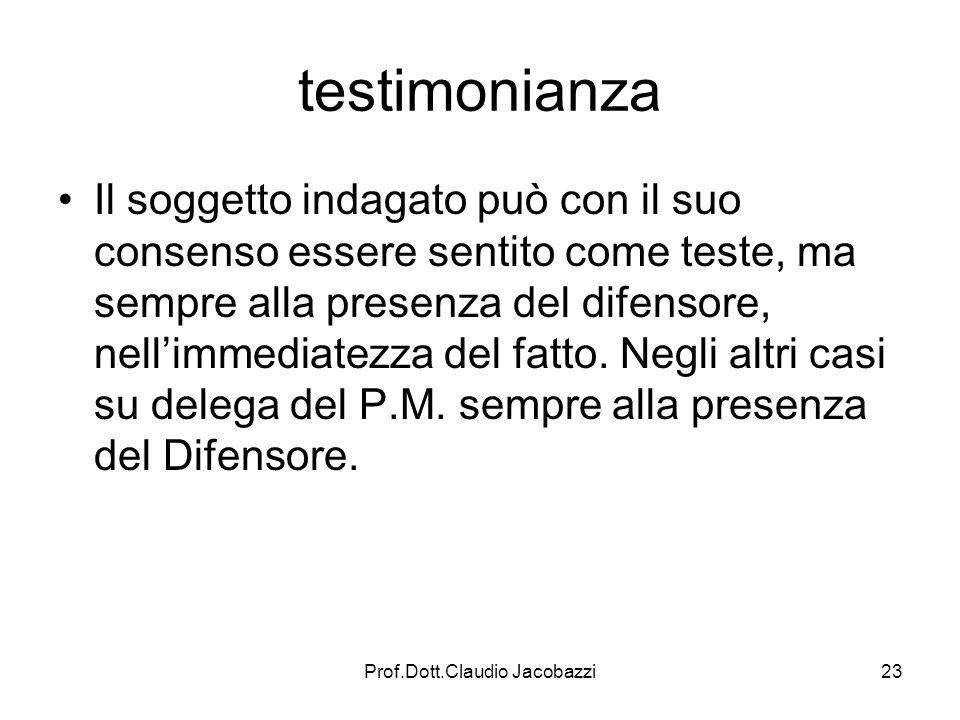Prof.Dott.Claudio Jacobazzi23 testimonianza Il soggetto indagato può con il suo consenso essere sentito come teste, ma sempre alla presenza del difens